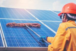 Solar-Panels-Cleaned-By-Worker-GreenLeaf-Solar-Long-Island-March-2019